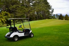 Golfers Golf Cart at Golf Course. Golf cart waiting for golfers to return Royalty Free Stock Photo