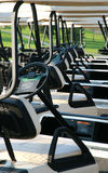 Golf carts. Neatly parked in front of a golf club Royalty Free Stock Images