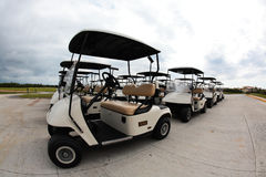 Golf carts in a Cancun resort Royalty Free Stock Image