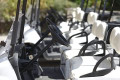 Golf carts at the course Stock Photo