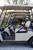 Golf carts lined up at country club. Several golf carts lined up in a row at country club, at sunset Royalty Free Stock Photo