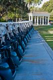 GOLF CARTS LINED UP royalty free stock image