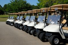 Golf carts parked Stock Photo