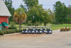 Golf carts parked in rows near the clubhouse waiting for golfers. Golf carts lined up outside clubhouse Royalty Free Stock Image