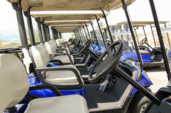 Golf Carts in a Row stock image