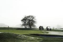 Golf carts waiting on green Stock Photos