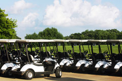 The golf carts. Stock Photos