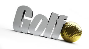Golf championship, gold ball. On a white background Stock Image