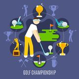 Golf Championship Round Composition. With player in game stance, trophies, sports equipment on blue background vector illustration Stock Image