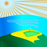 Golf club. Background golf green with sand bunker Royalty Free Illustration