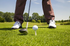 Golf club. Golfer concentrating on the 18th hole Stock Photography