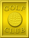 Golf club. Plate with ball and golf club in writing Royalty Free Stock Photography
