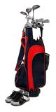 Golf club bag. Golf club bag, golfshoe and glove on white background Stock Photo