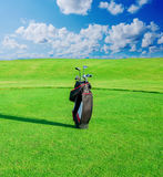 Golf club. Bag with golf clubs Stock Photography