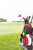 Golf club bag at golf course against clear sky Royalty Free Stock Images