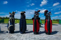 Golf club bag. Golf club golfplayer bag four waiting active leisure royalty free stock image