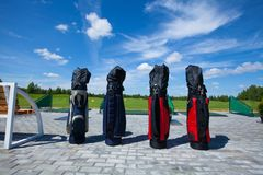 Golf club bag. Golf club golfplayer bag four waiting active leisure stock photos