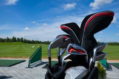Golf club bag. Golf club golfplayer bag lux collect active leisure, set royalty free stock image