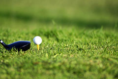 Golf Club and Ball. Image of golf ball on tee with golf club besides the ball Royalty Free Stock Photography