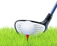 Golf club and ball on grass Stock Photography