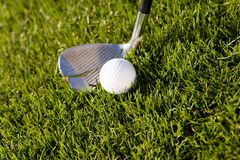 Golf Club And Ball On Grass Stock Image