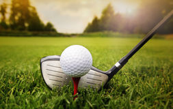 Golf club and ball in grass. Photo of Golf club and ball in grass royalty free stock photography