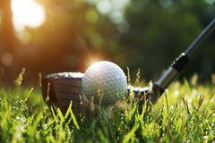 Golf club and golf ball on green grass in the evening golf course with sunshine. In thailand stock photo