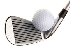 Golf club and ball isolated on white Stock Photos