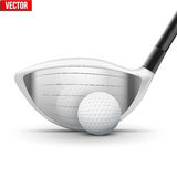 Golf club and ball at the moment of impact Stock Photography