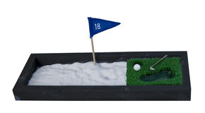 Golf Club and Ball next to a big Sand Pit Stock Images