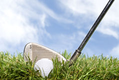 Golf club and ball in the rough Stock Image