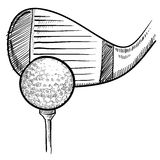 Golf club and ball sketch Stock Image
