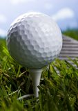 Golf club with ball on a tee Stock Image