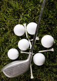 Golf club with ball on a tee Royalty Free Stock Image