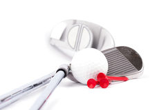 Golf club with ball and tees on white background Stock Photos