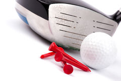 Golf club and ball and tees on white background Royalty Free Stock Images