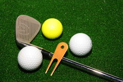 Golf club and balls Royalty Free Stock Images