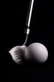 Golf club with balls on black background Royalty Free Stock Images