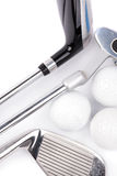 Golf club with balls on white background Stock Photography