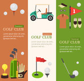Golf Club Banner Flat Design Style. Vector Stock Images