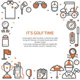 Golf Club Card or Invitation Template. Golf time card or invitation template with copyspace in line art style. Golf icons concept background with ball, golfer stock illustration