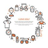 Golf Club Card or Invitation Template. Love golf card or invitation template with copyspace in line art style. Golf icons concept background with ball, golfer vector illustration