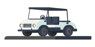Golf club cart. Transport for movement during the game and competition at the golf course. Golf cart or car. Vector illustration i. Colf club car. Transport for Stock Images