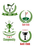 Golf club and championship emblems Stock Photo
