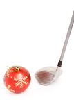 Golf club and Christmas Ball Stock Photos