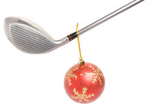 Golf club and Christmas Ball. Close up Stock Photos