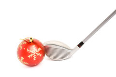 Golf club and Christmas Ball. Close up Stock Images