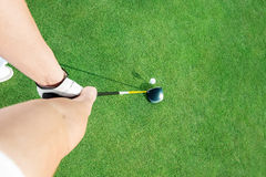 Golf club. And colf ball  ready to putting ball, top view Royalty Free Stock Images