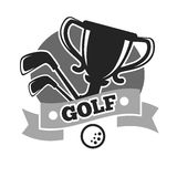 Golf club colorless logo emblem isolated on white Royalty Free Stock Image