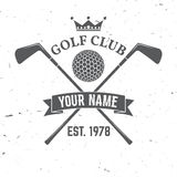 Golf club concept. With golf ball silhouette. Vector golfing club retro badge. Concept for shirt, print, seal or stamp. Typography design- stock vector Royalty Free Stock Photos